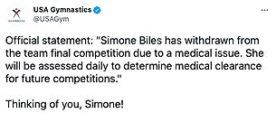 To be continued: USAG said that Simone will be 'assessed daily' to determine whether she can compete in the individual event finals