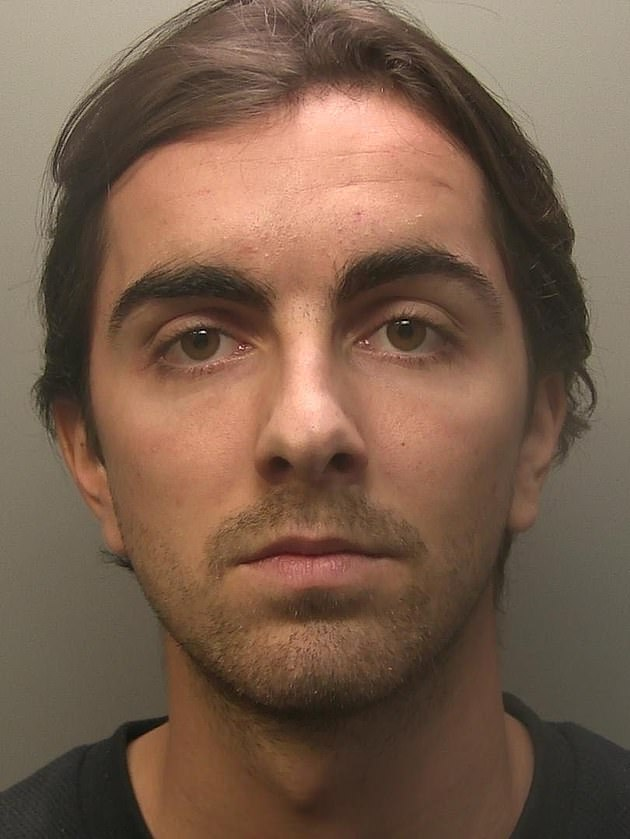 Departure: Sammy was seen crying as he was jailed for over three years for ripping off two elderly men over £ 34,000 by posing as a financial investor