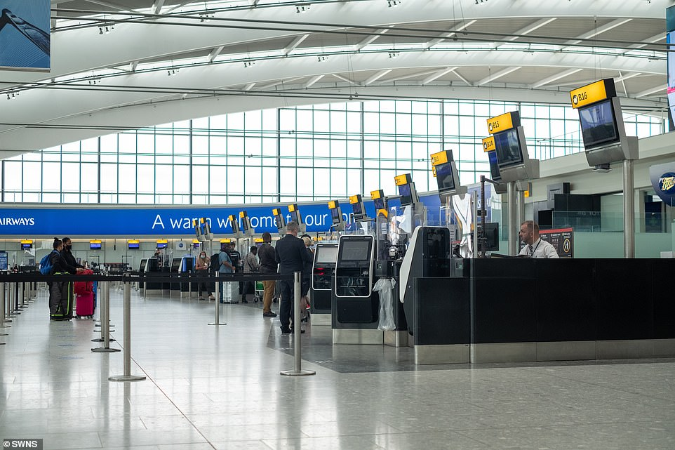 They said a holiday in the sun outweighs the risk even if they are not 'made of money' because 'we all need to get away and relax'. Pictured: Heathrow today