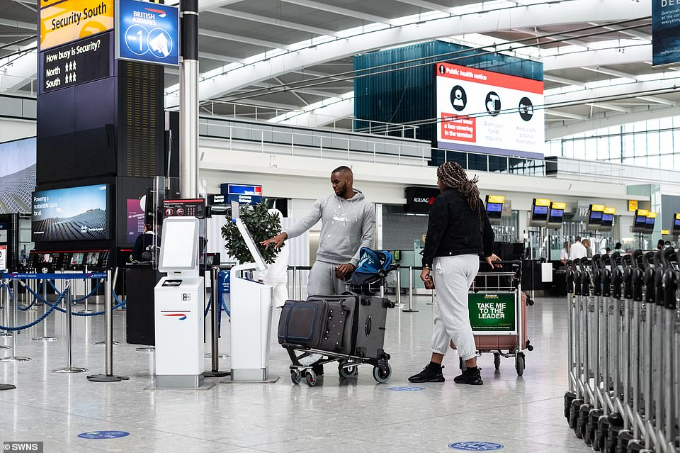Holidaymakers could face fresh chaos amid claims Spain is on the verge of being placed on the 'amber plus' list for quarantine. Pictured: Heathrow today