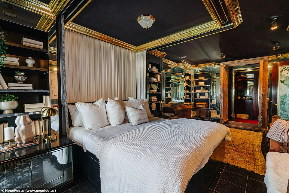 Dormitory: The bedroom has golden moldings above with mirrored shelves to showcase any special collections