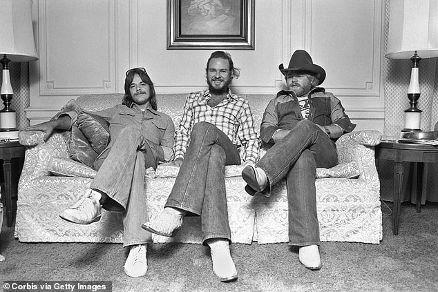 Tops: ZZ Top released Tres Hombres in 1973, which reached No. 8 on the Billboard 200 albums chart.  Their best hits were La Grange and Jesus Just Left Chicago.  Seen in New York, left to right, Beard, Gibbons and Hill