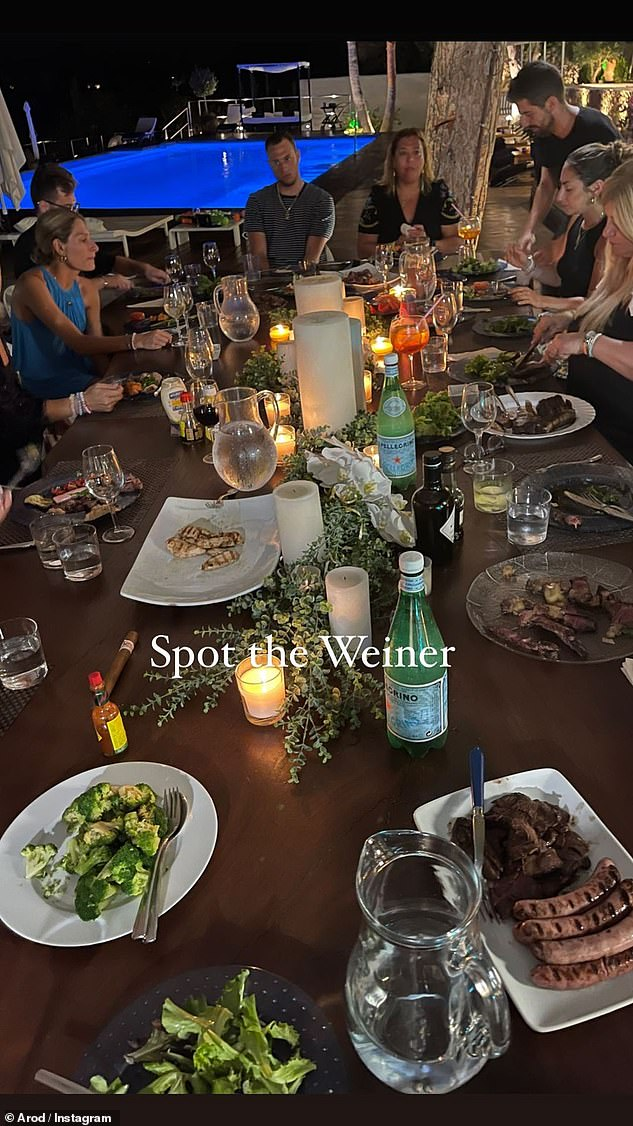 Yum!  The retired athlete also posted a snapshot of his poolside dinner surrounded by friends, who dined on broccoli, grilled chicken, salad and more.