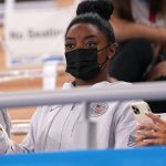 Simone Biles watches Sunisa Lee and Jade Carey compete in all-around final 💥👩💥