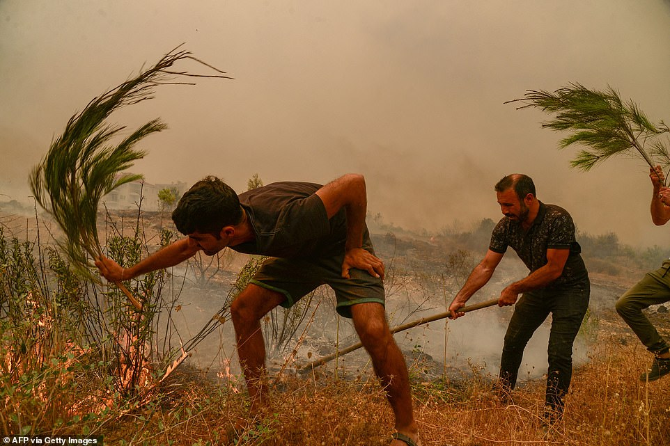 Residents desperately use spades and branches to try to put out raging wild fires near the town of Manavgat, south Turkey