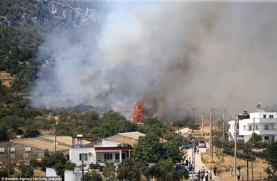 Firefighters were working to extinguish wild fires across southern Turkey after they spread rapidly towards towns after being helped by hot weather and fanned by strong winds