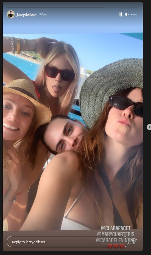 Another snap shows Jazzy with Clara, Mary and Cara all sporting sunglasses and in front of an idyllic blue seafront