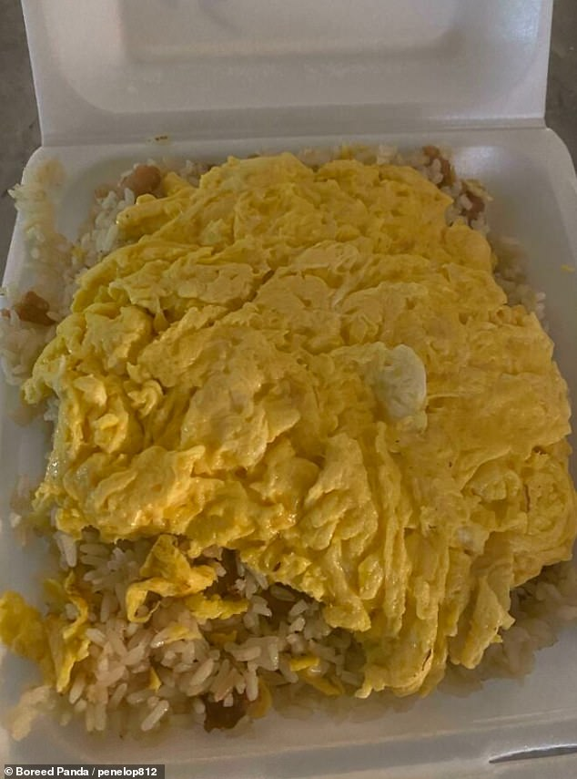 In a Chinese restaurant, a customer asked for extra egg on their egg fried noodles and wad delighted when their dish was covered in it