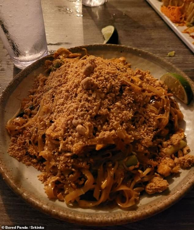 In a Thai restaurant, one person ordered extra nuts on their noodles and ended up with a mountain of nuts on their dish