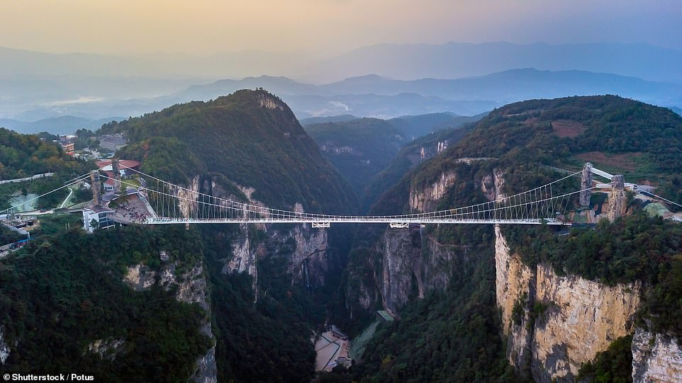 The pedestrian bridge, designed by Israeli architect Haim Dotan and opened in August 2016, was once the longest glass-bottomed suspension bridge in the world