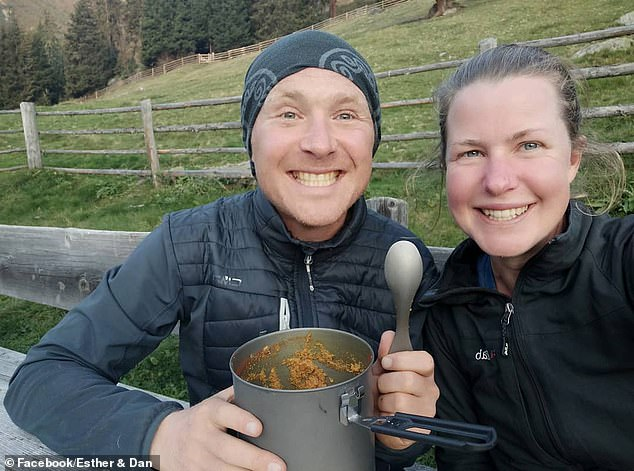 Esther's partner of 20 years Dan Colegate (pictured together) located the body about 400 metres from the remote peak of Pic de la Glere which straddles the French Spanish border in the Pyrenees