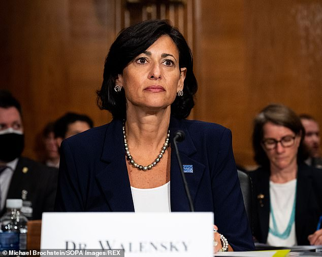 CDC director Dr Rochelle Walensky, said there are few diseases as transmissible as the Delta variant, which can allegedly be spread to eight or nine people by an infected person. Pictured: Walensky at a hearing of the Senate Health, Education, Labor, and Pensions Committee, July 2021