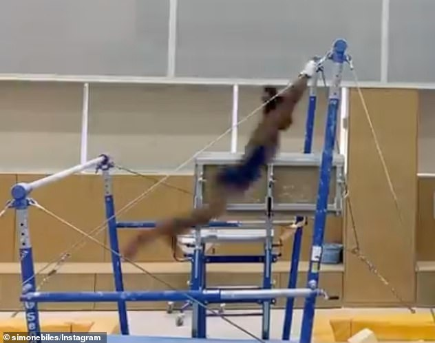 Location: Biles shared a calamitous video of herself trying to work through the 'twisties' on uneven bars and it is understood the clip was filmed inside of her secret training facility