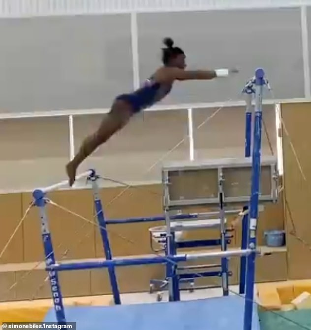 Opening up: Simone Biles has paid tribute to the Japanese university that allowed her to use its gym facility so she could train in secret while trying to overcome her mental health issues