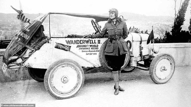 Aloha Wanderwell, who was born Idris Galcia Hall,was the first woman to drive around the world, visiting 43 countries in a Ford Model-T when she was still a teenager