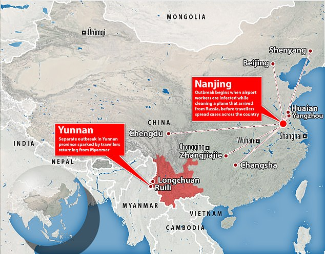 China has been hit by what state media are calling the 'most extensive Covid outbreak since Wuhan' after cases of the Delta variant escaped border quarantine in the city of Nanjing and spread around the country, at the same time as a separate outbreak is underway in Yunnan