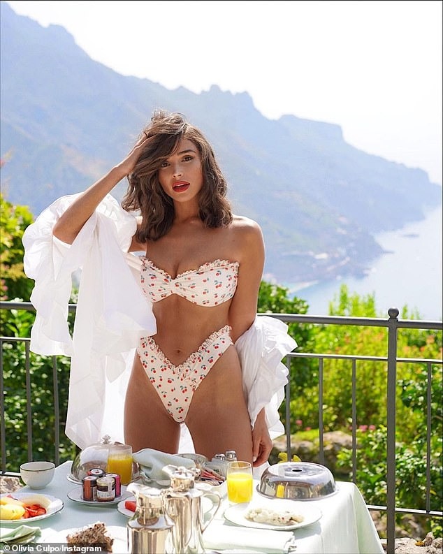 What a life!'Woke up in Italy ¿¿ @revolve @loversfriendsla,' wrote the I Feel Pretty actress in her caption for her nearly 5million Instagram followers.She was at an outdoor table with room service in front of her on a white table cloth. On the table was orange juice, fruit, pastries