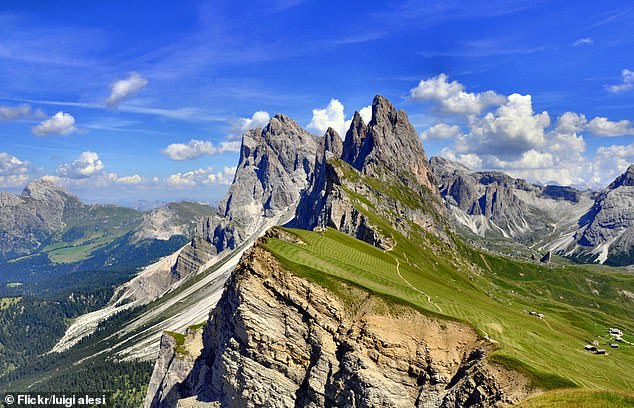 According to local media, Mr Dyrlund fell from a cliff path on Mount Seceda (pictured, file photo) in Val Gardena, Italian broadcaster Rai reported. Mount Seceda is in the Dolomites, a limestone mountain range in the Southern Limestone Alps known for their steep cliffs