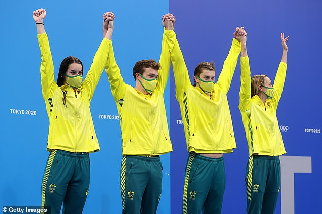 Australian athletes (pictured Mixed 4x100 Medley team who won bronze) who take home a medal can win cash for their performances and can take home$20,000 for gold, $15,000 for silver and $10,000 for bronze