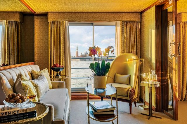 Elegant: Pictured is a luxurious suite on the new river ship SS Venezia, with its Venetian-inspired interiors