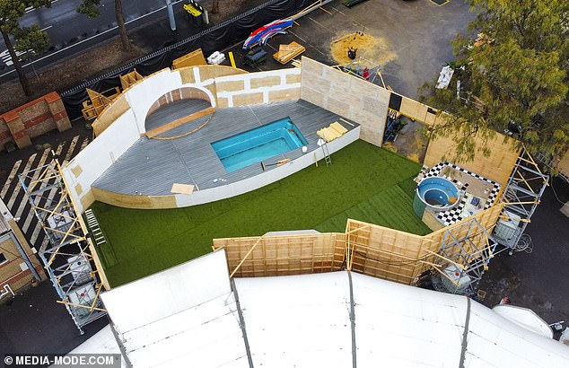 A-list! The Keeping Up with the Kardashians reality star, 71, will bring in the star power as the only American housemate to enter the house during the first episode. Pictured: New house being constructed earlier this month