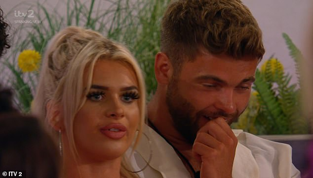 Explosive: Jake - whose encouragement at Casa Amor has been a particular point of grief - receives the text announcing the challenge, which will show the islanders excerpts from their stay in the villa and exposing antics
