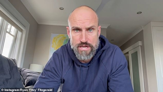 New look: Nova radio host Ryan 'Fitzy' Fitzgerald (pictured) looked unrecognisable as he rocked a lockdown beard this week