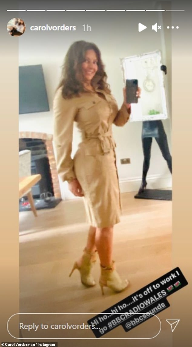Leggy:Carol looked chic for her radio show on Saturday morning, stunning in a wrap-around beige dress and a matching shade of heeled boots