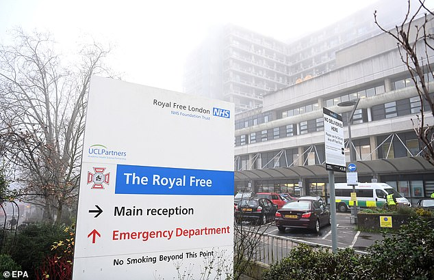 Patients at the Royal Free Hospital (file photo, above) in London took a range of daily measurements including blood pressure, weight, and scores on a memory test, and logged the results on a smartphone app