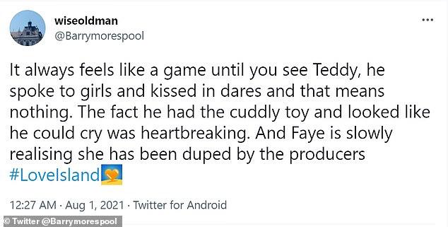 Love Island fans heartbroken for Teddy after seeing him talk to Faye's stuffed animal in Casa Amor