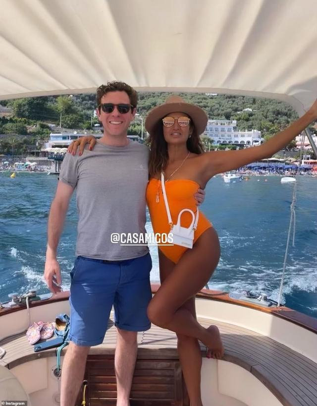 Brooksbank is pictured with Maria Buccellati on the Amalfi Coast in an image taken from Maria's Instagram story (pictured)