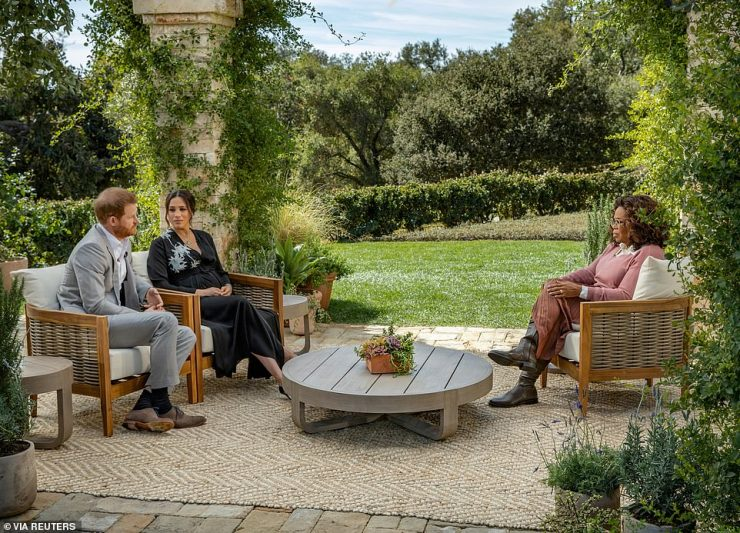 The Oprah chat: Oprah typically lives at her so-called Promised Land ranch in Montecito, California, 1,220 miles away. It is famously close by to Prince Harry and Meghan Markle's home, at which they were interviewed by Oprah in a bombshell one-off show early this year [pictured]