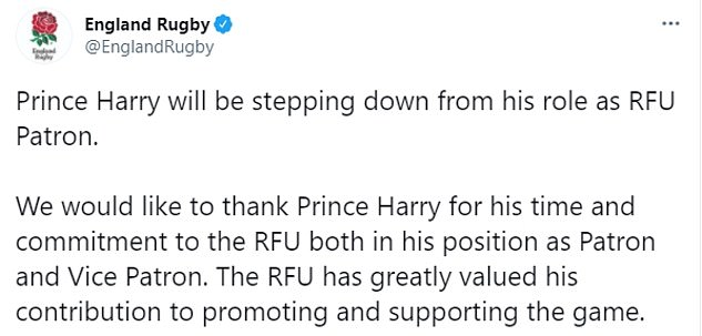 At the time, several sporting bodies released their own statements confirming they had parted ways with the Sussexes and thanked Prince Harry for his 'time and commitment'