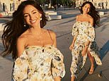 Michelle Keegan sizzles in the Mallorcan sun wearing a puff-sleeved floral dress