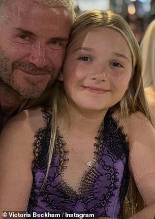 Who's who! Harper Beckham was borrowing from her mum's wardrobe during the family's recent trip to Italy as she modelled one of the star's very own designs