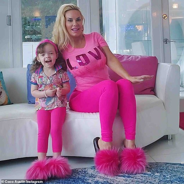 Speaking out: Coco Austin says she won't stop breastfeeding her five-year-old daughter Chanel until she's ready to be weaned off her milk