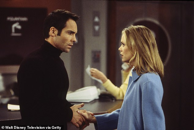 At work: He played a doctor on Port Charles. Seen here in 1998 withSarah Aldrich