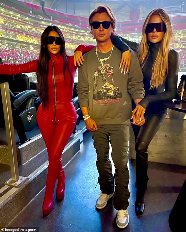 Trio:The 44-year-old rapper was supported at the event by his estranged wife Kim Kardashian West, their four children, and her sister, Khloe Kardashian, and 'FoodGod' Jonathan Cheban