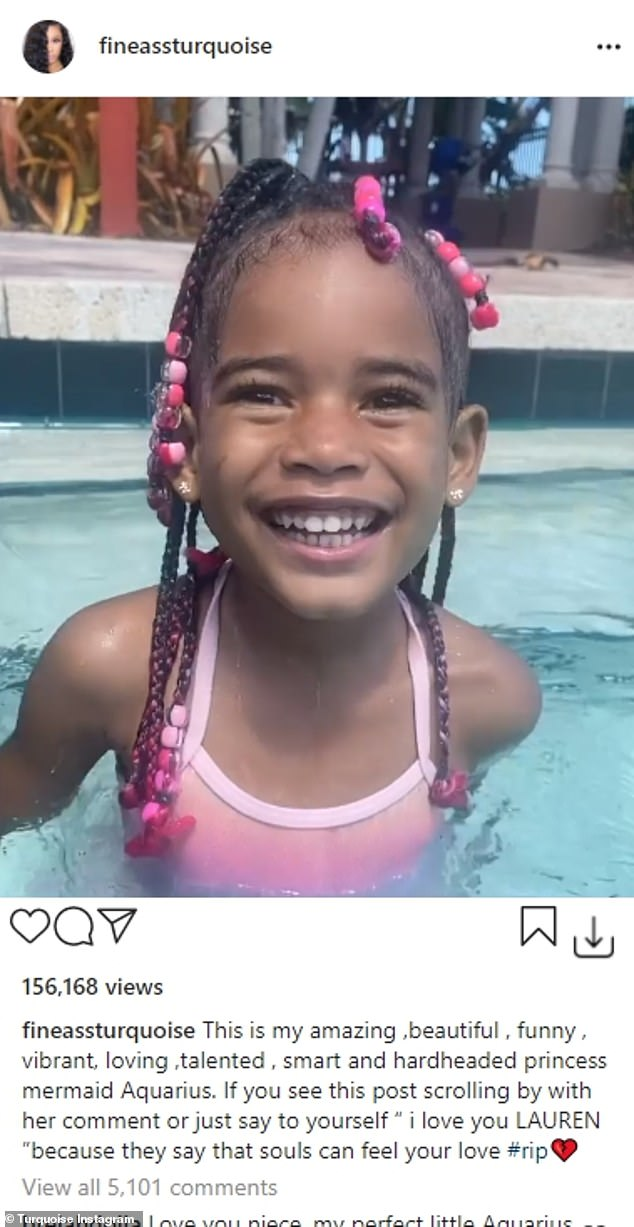 Heartbreaking news:The news was shared on Sunday by the child's mother Turquoise Miami - whose real name is Lisa. It was their only child together