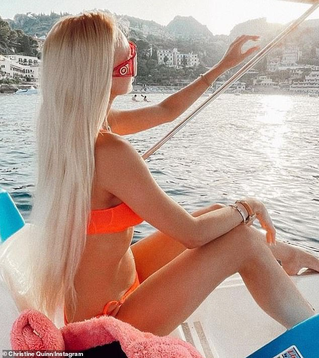 Family time:The Selling Sunset star has been in Italy with her husband Christian Richards for the past several weeks as the two have been seen dining al fresco and swimming along the rocky coastline