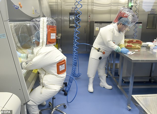Researchers work at a lab in at the Wuhan institute. Republicans in a House committee are compiling a report that seeks to prove the virus was made in one of the labs and escaped sometime before Sept. 12, 2019