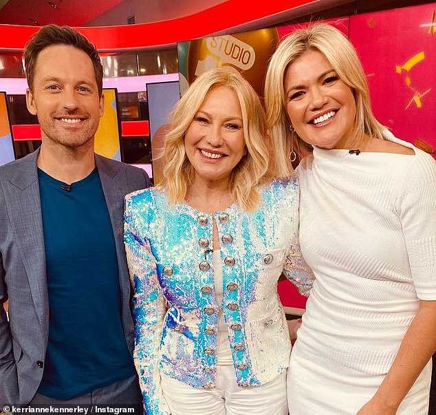 Changing of the guard: Kerri-Anne was made redundant in August last year, when Channel 10 let go of 25 staffers in a bid to reduce spending during the COVID-19 recession. Pictured with current Studio 10 hostsTristan MacManus and Sarah Harris
