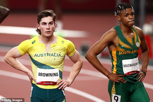 Rohan Browning of Team Australia (left) and Shaun Maswanganyi of Team South Africa (right) react after competing in the Men's 100m Semi-Final on day nine of the Tokyo 2020 Olympic Games at Olympic Stadium on August 1, 2021 in Tokyo, Japan
