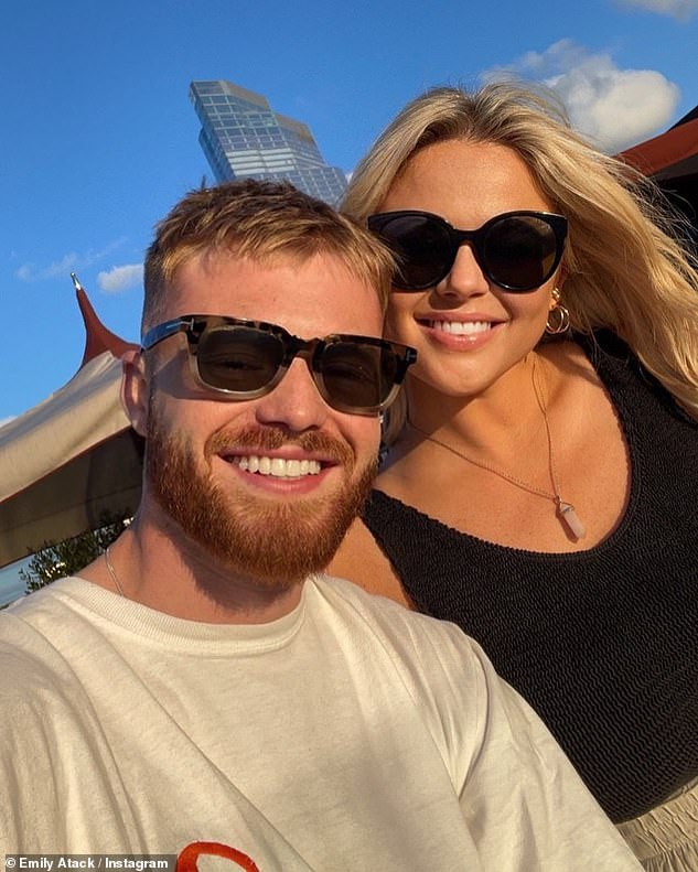 Last week: Emily shared a sweet snap with her fashion entrepreneur boyfriend Jude, who she has reportedly been dating for two months