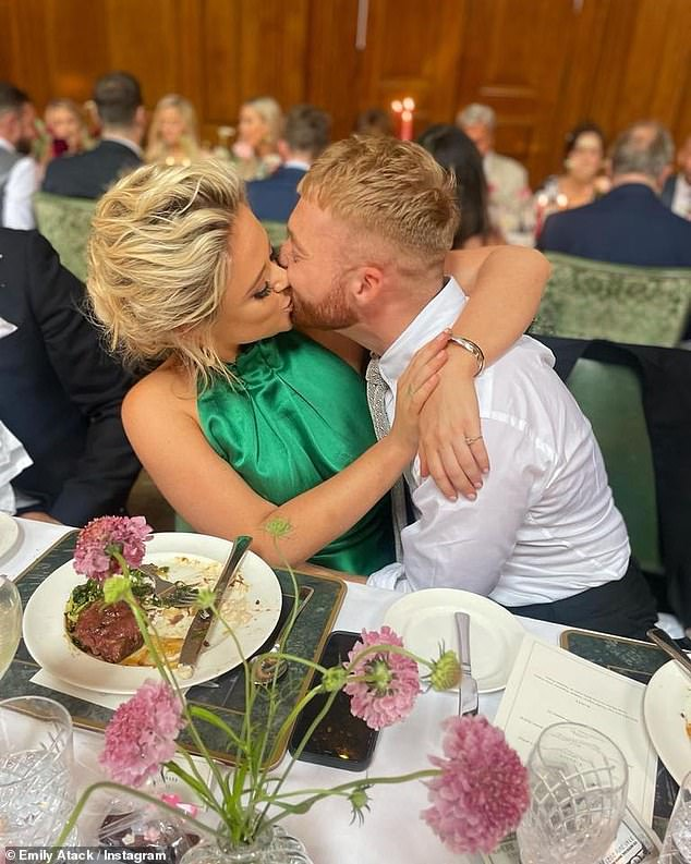 Love is in the air:She also shared a snap from the reception, sat with her boyfriend Jude Taylor, packing on the PDA and embracing him in a passionate kiss