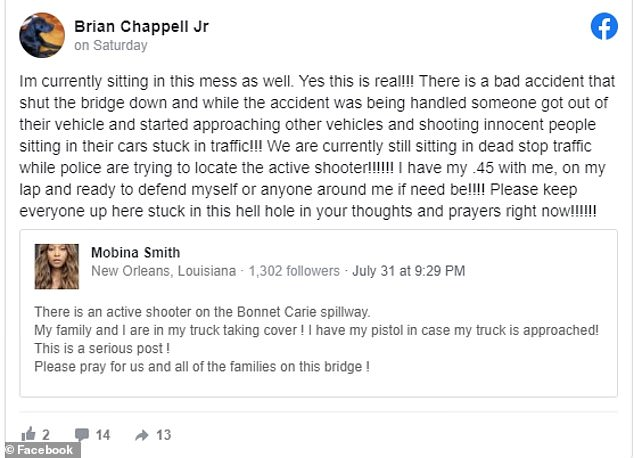 'There is a bad accident that shut the bridge down and while the accident was being handled, someone got out of their vehicle and started approaching other vehicles and shooting innocent people sitting in their cars stuck in traffic!' Brian Chappell Jr. wrote on Facebook