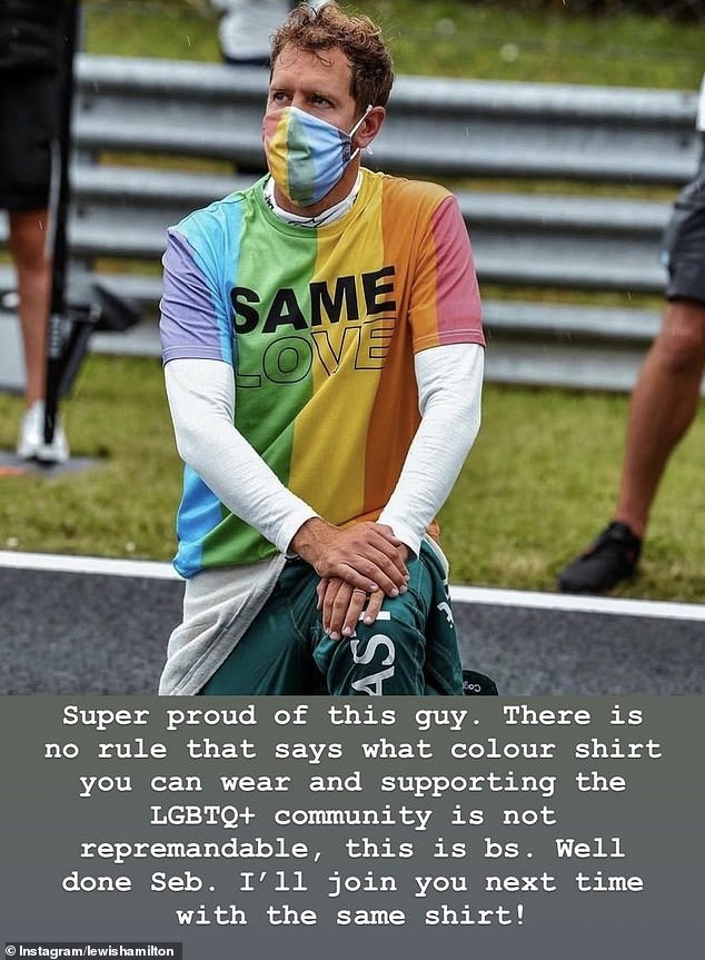 Lewis Hamilton took to Instagram to support Aston Martin's Sebastian Vettel who wore a shirt reading 'same love' in support of theLGBTQ+ community
