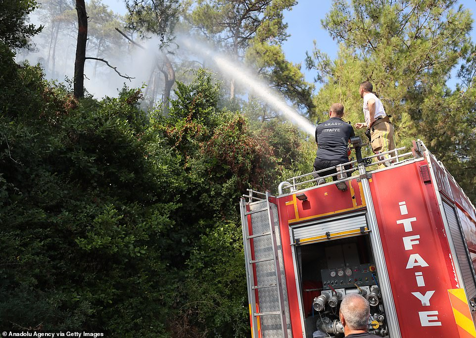 Firefighters battle the forest fire broke out Mugla, Turkey, driven by hot and dry winds sweeping up from the equator