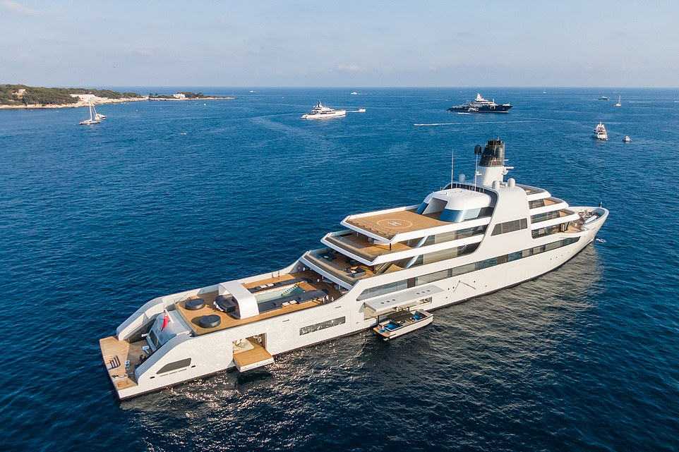 The helipads on the superyacht can be converted into an outdoor cinema, with hidden speakers and screens