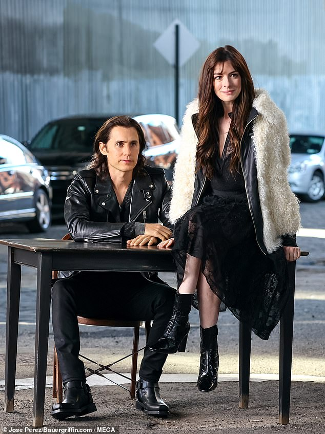 In the character: Jared rocked a black leather motorcycle jacket while Anne wore a fluffy white coat over a black lace dress selected by costume designer Lucy W. Corrigan